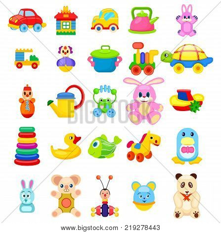 Soft animals, easy constructors, toys on wheels, rubber duck and fish, beetle xylophone, colorful pyramid and girlish cookware vector illustrations.