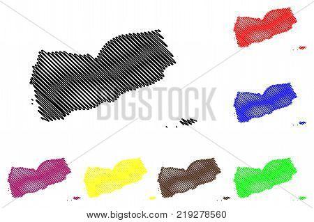 Yemen map vector illustration , scribble sketch Republic of Yemen