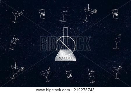 party and drinks concept: crossed out alcohol bottle surrounded by cocktail glasses