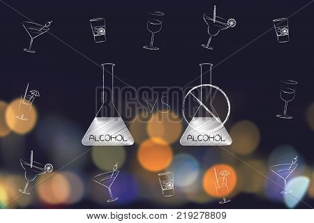 party and drinks concept: alcohol bottle vs a crossed out one surrounded by cocktail glasses