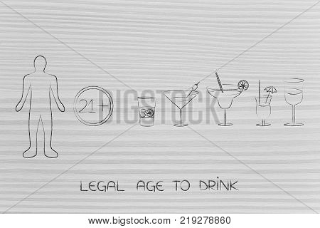 legal age to drink concept: cocktails next to sign with minimum age number and person