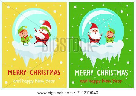 Postcard Merry Christmas and Happy New Year Santa and Elf playing hide-and-seek with covered eyes, merrily jumping in glass ball on icy cliff vector