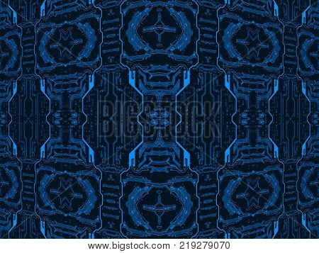 Blue on black circuit board suitable as symmetrical technology background.Digitally altered image.
