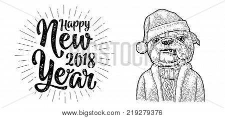 Dog Santa claus in hat, coat, sweater. Happy New Year 2018 calligraphy lettering with salute. Vintage black engraving illustration for poster. Isolated on white background
