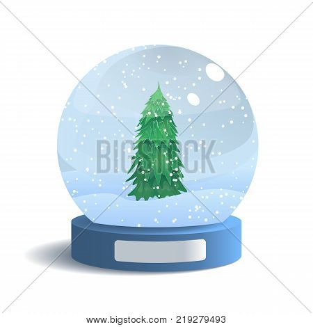 Snow Globe Isolated on White Background. Vector Illustration of Glass Sphere with Shadow. Realistic Ball with Snow and Tree Inside. New Year and Christmas Gift.