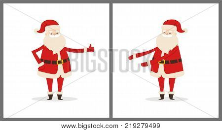 Happy smiling Santa Claus icon isolated on white background. Vector illustration with funny wintertime character in red costume with white fluffy beard