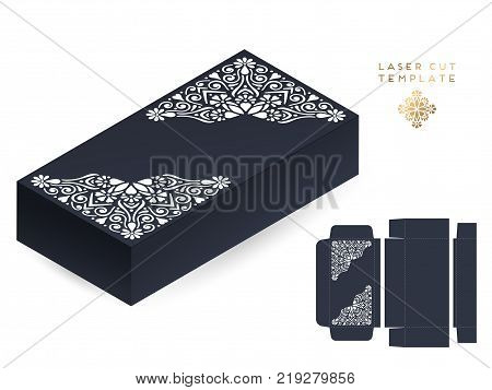 Vector wedding card laser cut template box. Vintage decorative elements. Hand drawn background. Islam, Arabic, Indian, ottoman motifs