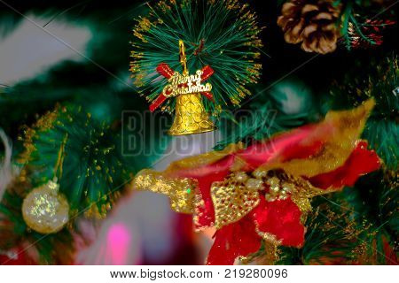 Holiday Chirstmas, Chirstmas tree decoration with ball and bell, Christmas Backgroud With Christmas Decoration.