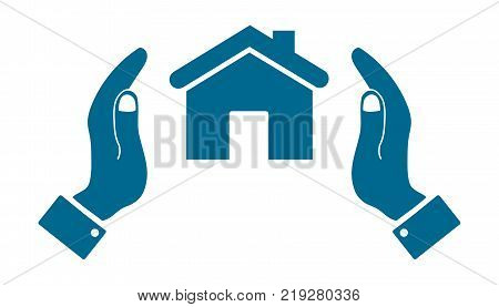 icons in the form of a house with human hand isolated
