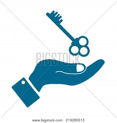 icons in the form keys with human hand isolated