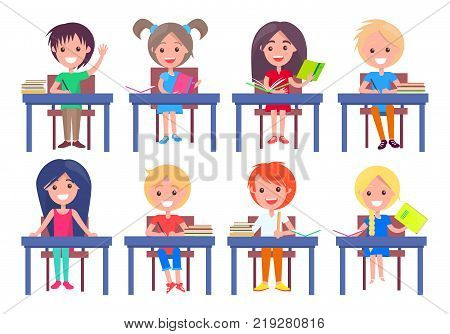 Set of schoolchildren sitting at desks isolated on white background. Smiling boys and girls ready to answer on questions vector illustrations