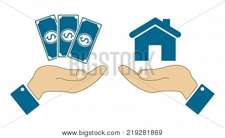 icons in the form of dollar bill and a house with human hands isolated