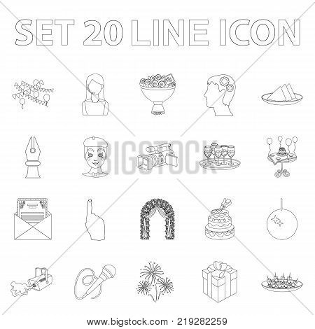Event Organisation outline icons in set collection for design.Celebration and Attributes vector symbol stock  illustration.