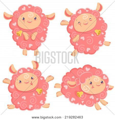 Vector illustration clipart set of cute funny pink girl sheep dancing running jumping staying with bell for kids and babies print and textile design wall design, stickers, art