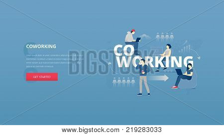 Vector illustrative hero banner of coworking zone. Networks hero website header with young men and women characters around word 'CO-WORKING' together over digital world map