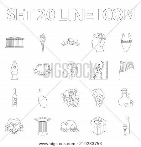 Country Greece outline icons in set collection for design.Greece and landmark vector symbol stock  illustration.