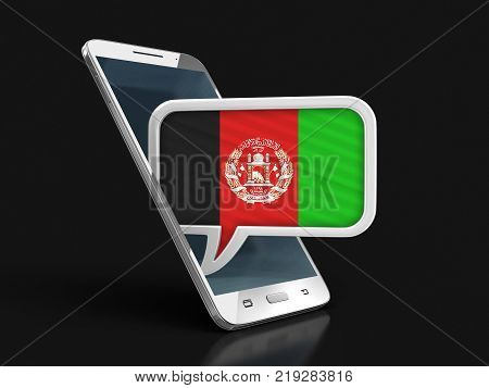 3d illustration. Touchscreen smartphone and Speech bubble with Afghani flag. Image with clipping path