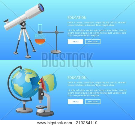 Education web banner with geography and astronomy classes informative Internet page with globe model and powerful telescope vector illustrations.