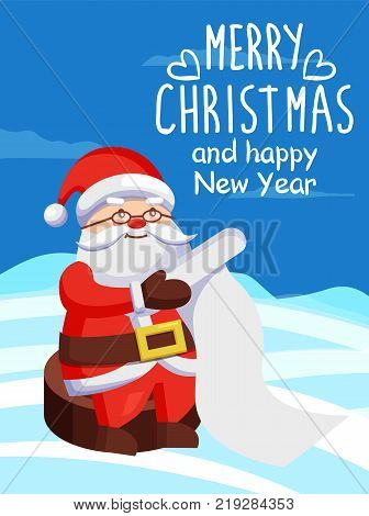 Father Christmas with paper scroll vector poster on snow. Merry Xmas and Happy New Year postcard Santa Claus reading wishlist sitting on wooden stump