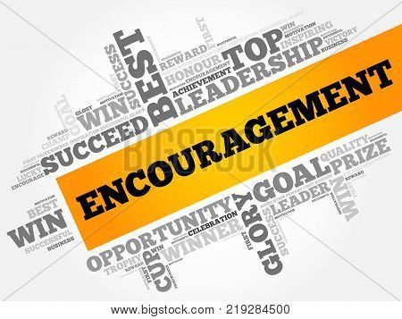 Encouragement word cloud collage, business concept background