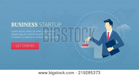 Businessman pushing a red start button and launching a business startup. Vector illustration of project launch. Banner template of business metaphor