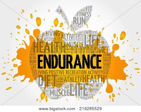 Endurance Apple Word Cloud Collage, Health Concept Background
