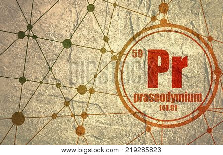 Praseodymium chemical element. Sign with atomic number and atomic weight. Chemical element of periodic table. Molecule And Communication Background. Connected lines with dots.