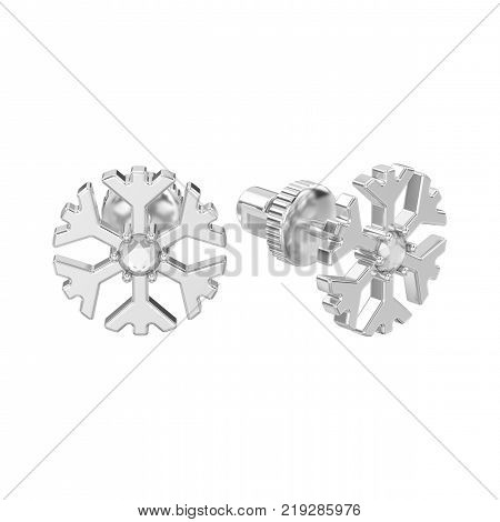 3D illustration isolated white gold or silver diamond snowflake stud earrings on a white background