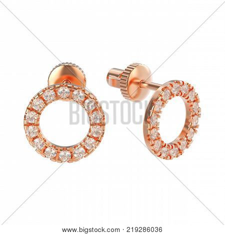 3D illustration isolated rose gold diamond round stud earrings on a white background