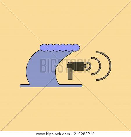 flat icon on stylish background tsunami loudspeaker