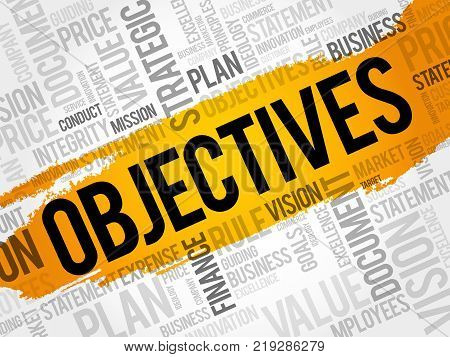 Objectives Word Cloud Collage Business Concept Background