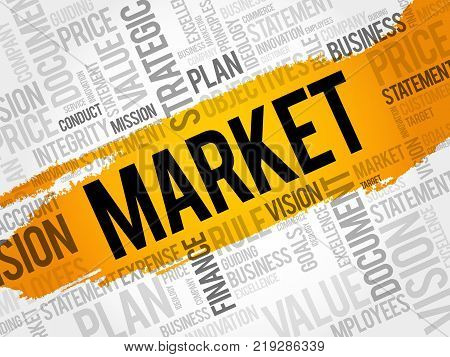 Market word cloud collage business concept background