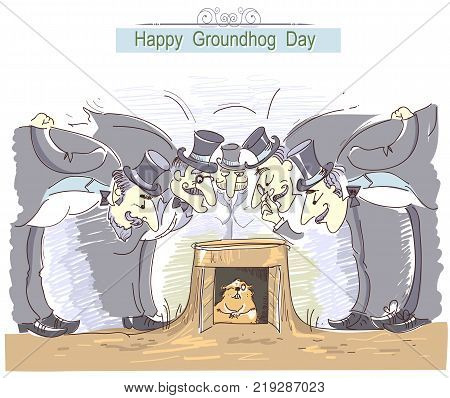 Happy Groundhog day card with group of men in cylinder hats and marmot.Vector hand drawn color illustration