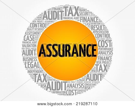 Assurance Word Cloud Collage Business Concept Background