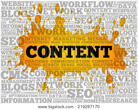 Content Word Cloud Collage, Internet Concept Background