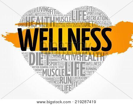 WELLNESS heart word cloud fitness sport health concept