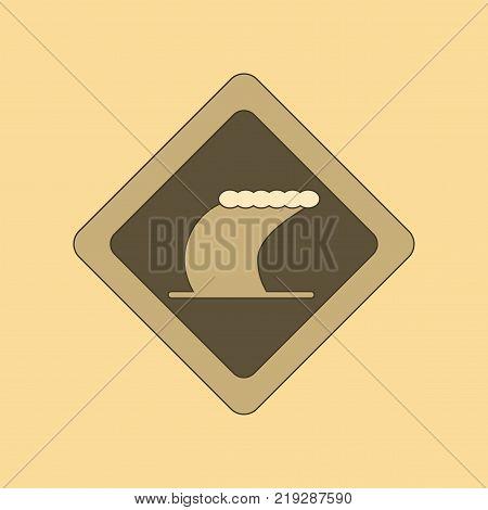 flat icon on stylish background tsunami sign