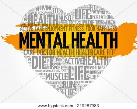 Mental health heart word cloud fitness sport health concept