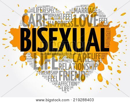 Bisexual word cloud collage heart concept background