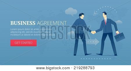 Two businessmen are shaking hands with each other in consistency. Vector illustration of business approval. Banner template of business metaphor