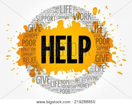 Help Word Cloud Collage, Social Concept Background