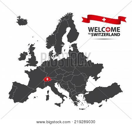 Vector illustration of a map of Europe with the state of Switzerland in the appearance of the Swiss flag and Swiss ribbon isolated on a white background