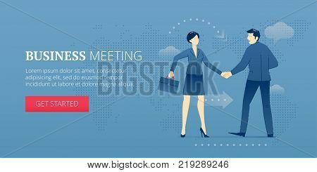 Businessman and business woman are shaking hands with each other in agreement. Vector illustration of business approval. Banner template of business metaphor