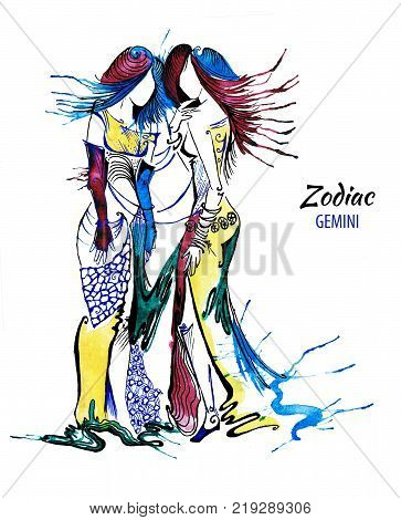 Zodiac illustration of the Gemini astrological sign of  as a beautiful girls