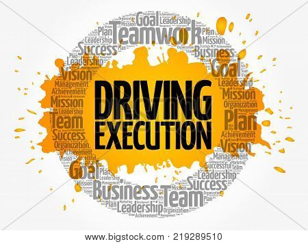 Driving Execution word cloud collage business concept background