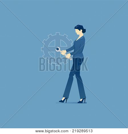 Business woman is fixing a giant cog as a business machine with a wrench. Vector illustration of fixing company problem. Isolated on blue background
