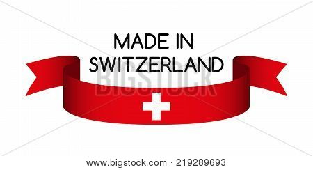 Colored ribbon with the Swiss colors Made in Switzerland symbol Swiss flag isolated on white background vector illustration