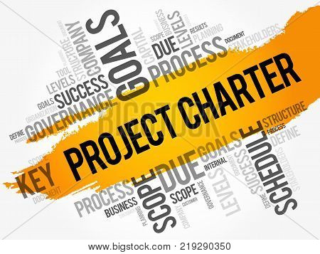 Project Charter Word Cloud Collage Business Terms Such As Method Process Leads Concept Background
