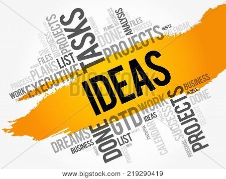 Ideas word cloud collage business concept background