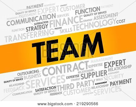 TEAM word cloud collage business concept background